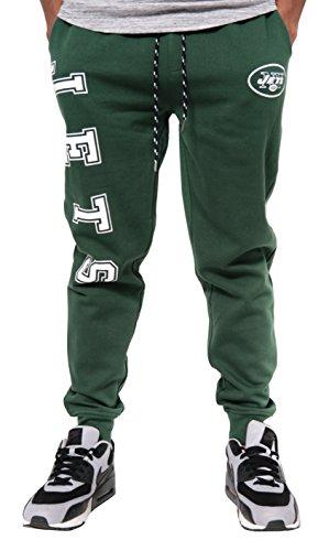 Ultra Game NFL New York Jets Mens Active Basic Jogger Fleece Pants, Team Color Stripe, Medium