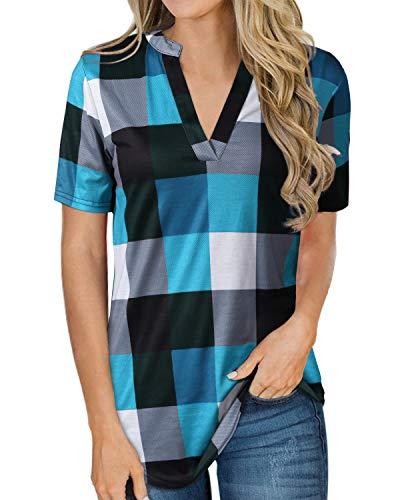YOINS Camicia Donna Elegante Camicetta Scollo a V Maglietta Manica Lunga Camicie a Quadri Blusa Casuale Blu-Manica Corta S