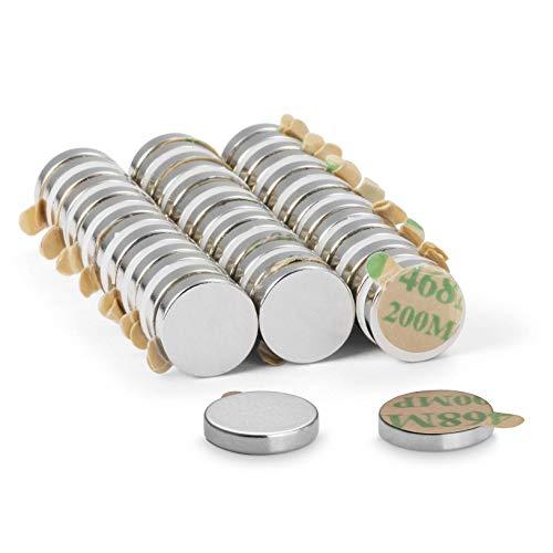 NeoMagNova® 40 Stück selbstklebende Neodym Magnete 10x2 mm - Magnetstärke N42 - Klebemagnete paarweise magnetisiert