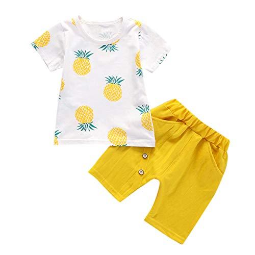 LOPILY Camiseta De Manga Corta con Estampado De Piña para Niños Top Pantalones Cortos De Color Liso Conjunto Traje