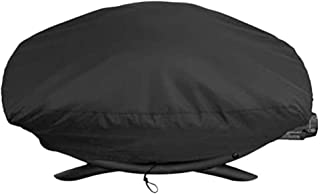 BBQ Cover, Round Outdoor Dustproof Waterproof Heavy Duty Rain Protective Barbecue Grill Covers,Black