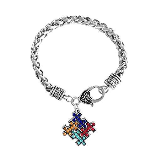 UNIQUEEN Autism Awareness Puzzle Jigsaw Classic Square Crystal Charm Bracelet