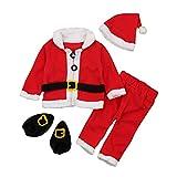 ggudd Bébé Garçons Père Noël Ensembles Pantalons et Manteaux et Chapeau et Chaussettes 4 Pièces Chaud Tenues (Rouge et Blanc,12-18 Mois)
