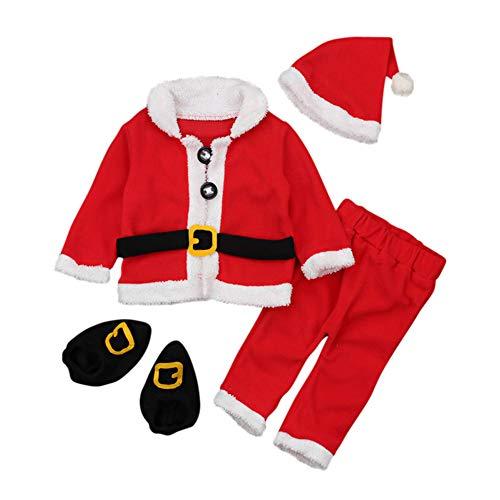 amropi Niño Bebé Christmas Santa Abrigos Tops y Pantalones y Sombrero y Calcetines 4 Piezas Trajes Cálidos(Rojo Blanco,0-6 Meses)