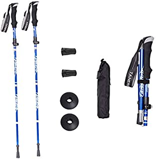 Upone Foldable Trekking Walking Hiking Sticks Poles Alpenstock Anti-Shock Adjustable