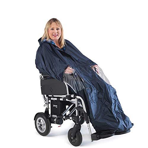 Capa para silla de ruedas eléctrica, impermeable y con forro de algodón, longitud completa