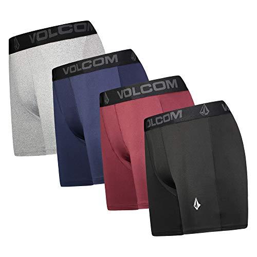 Volcom Mens Boxer Briefs 4 Pack Poly Spandex Performance Boxer Briefs Underwear (Black/Blue/Grey/Red, Large)