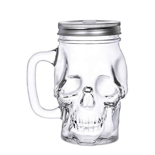 Erjialiu Kaffeetasse 450ml Bierkrug Glas Dickes Glas Bar Wein Cola Saft Cup Party Cup mit Griff,450 ml