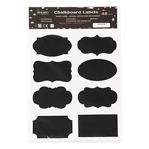 Little Star Labels - Etichette decorative a lavagna, grandi, confezione da 48, impermeabili, lavabil