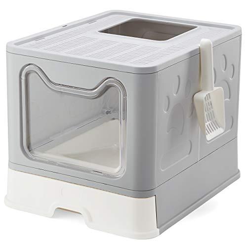 Vealind Lettiera per Gatti, 51 x 41 x 38 cm Grande Toilette per Gatti Chiusa con Design Pieghevole, Vassoio Estraibile e Paletta (Grigio)