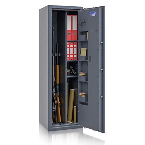SafeHero Waffenschrank Klasse 1 EN 1143-1 Secureo Hawk 4 Kombi | Elektronikschloss | für 4 Langwaffen und Kurzwaffen inkl. Munition | 1500x450x450 | 172 kg