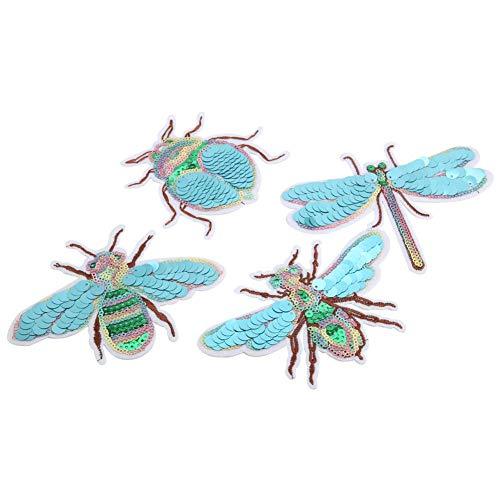 4 pièces habiller Applique broderie tissu patchs libellule scarabée abeille cigale bricolage Patch accessoires de noël