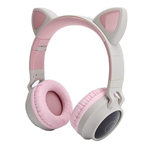 CCYLEZ Bonitos Auriculares con Forma de Oreja de Gato, Auriculares inalámbricos Bluetooth, Auriculares Plegables, con luz LED 3D, Cable de Enchufe AUX de 3,5 mm, Adecuado para Actividades(Rosa Gris)