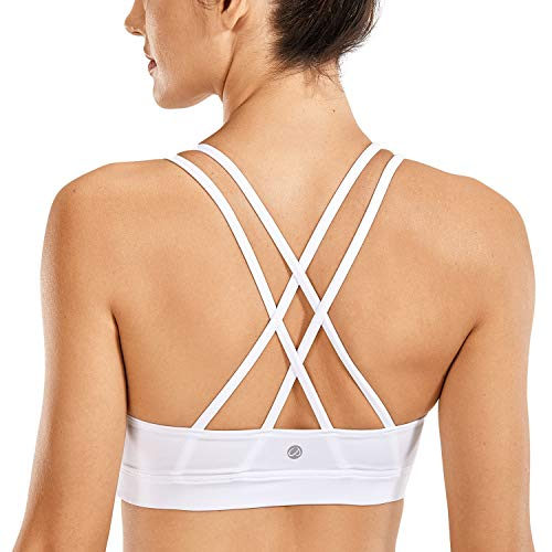 CRZ YOGA Strappy Yoga Bra for Women Fitness Workout Sports Bra White-Logo X-Large
