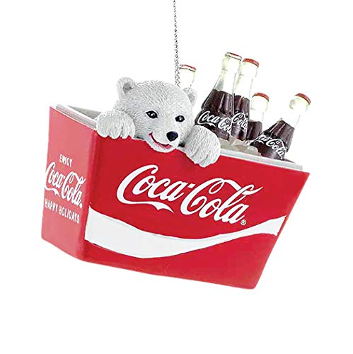Coca-Cola Kurt Adler Polar Bear Cub in Coke Cooler Ornament, 2.75-Inch