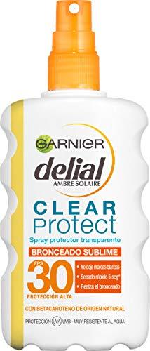 Garnier Delial Clear Protect Bronceado Sublime, Spray Protector Solar Corporal Transparente con SPF30 - 200 ml