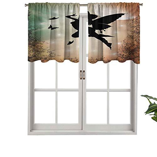 Hiiiman Sunshine - Cortina con cenefa, diseño de hada negra con alas de ángel, mariposas como sol, juego de 2, 42 x 24 pulgadas para interior salón comedor