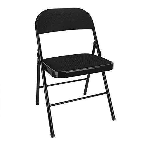 JINTN - Silla de jardín plegable, silla de jardín, silla de balcón, silla de camping, silla plegable, silla de metal en negro para jardín, terraza y balcón