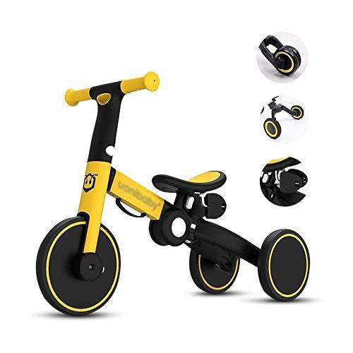 LRBBH Bicicleta de Equilibrio, Pastillas de Bebé Cochecitos Livianos para Bebés 3 en 1 Balance Triciclo de Bicicletas, Bicicleta de Entrenamiento de Primer Saldo para Niños de 2 a 6 Años de Edad,Rojo