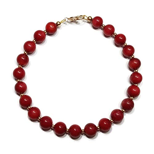 Red Coral 9ct Gold Bracelet, 9ct Gold Clasp and Beads, 6mm Gemstone Beads, Beautiful Gift