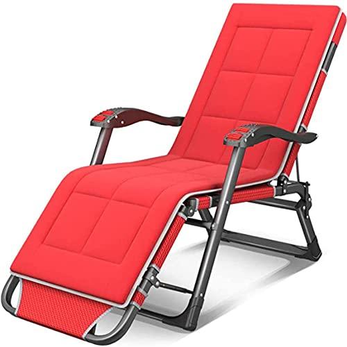 FXBFAG Silla reclinable Silla de Gravedad Cero Plegable de Plegable Patio de Gran tamaño Sol reclinable de jardín con cojín extraíble y Masaje Armrestsslin, Gris (Color : Rojo)