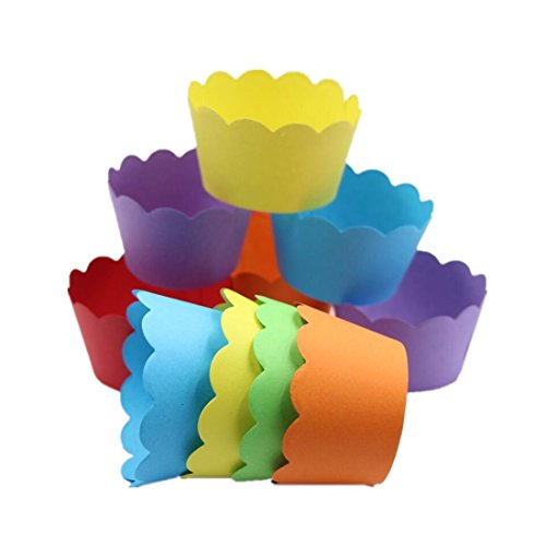 Mybbshower 36 Count- Solid Bright Colors Scalloped Cupcake Wrappers