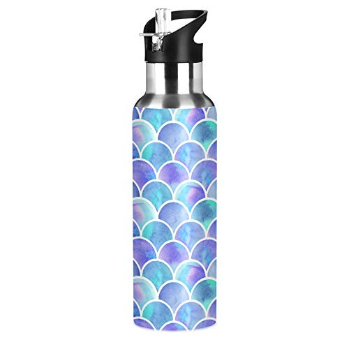 MNSRUU Insulated Water Bottle with Straw, Watercolor Rainbow Scales of Mermaid Stainless Steel Flasks for Sports Cycling Hiking School