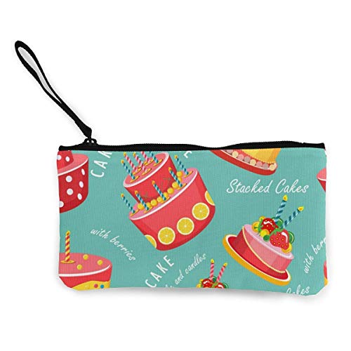 Cake Seamless Pattern Canvas Wallet Exquisite Coin Purses Small Canvas Coin Purse is Used to Hold Coin Change, Id and Other
