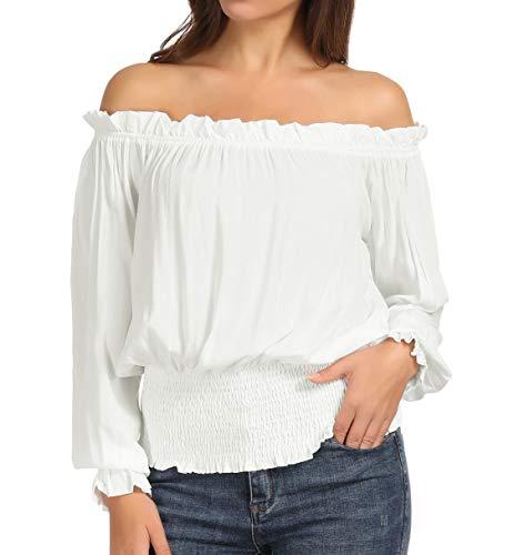 Women's Renaissance Pirate Shirt Off Shoulder Peasant Blouse Top L White