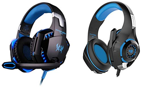 Cosmic Byte GS410 Headphones with Mic and for PS4, Xbox One, Laptop, PC, iPhone and Android Phones&Kotion Each Over The Ear Headsets with Mic & LED - G2000 Edition (Black/Blue)