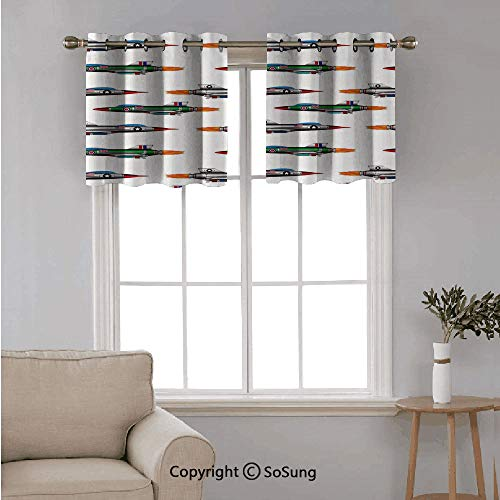 Airplane Decor 2 pcs 42x24' Blackout Curtains,Collection of Jet fighters Rocket Aviation Attack Fire Bombers Missile Modern UK Model Print Grommet Top Window Treatment Blackout Panel Drapes for Bedroo