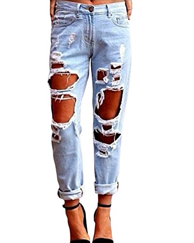 Kasen Pantalones Sueltos Mujer Vaqueros Rotos Agujero Jeans Casuales Azul Claro S