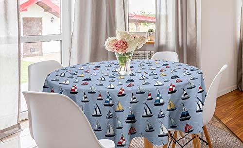 ABAKUHAUS Het zeilen Rond Tafelkleed, Zeilboten Racing zwelling, Decoratie voor Eetkamer Keuken, 150 cm, Veelkleurig