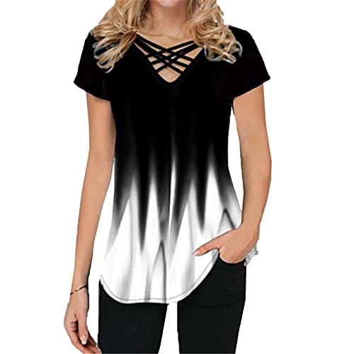 Camiseta con Cuello en v de Manga Corta Casual con Estampado Degradado para Mujer