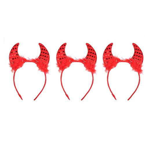 Lurrose 3 stuks Halloween Party hoofdband met hoorn duivel oren haarband haarband carnaval Halloween Party Kostuum