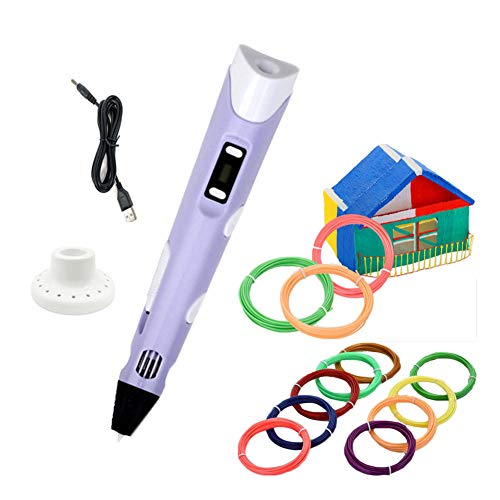 3D Stift mit 12er-Set PLA-Filament-Material, USB-Stromversorgung, 3D-Zeichenstift für Kinder (Lila)