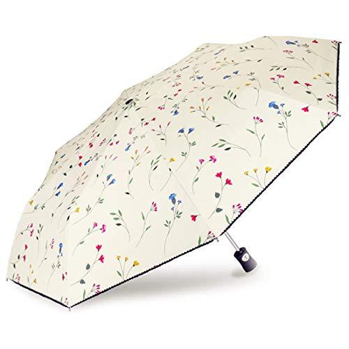 すらりとしたお花がたっぷりと描かれたかわいい折りたたみ日傘です。完全遮光、UV遮蔽率も高く、手元に1本あると安心できます。  グリップには高品質ABS樹脂を採用し、触れ心地よく、すべり止め機能もついています。