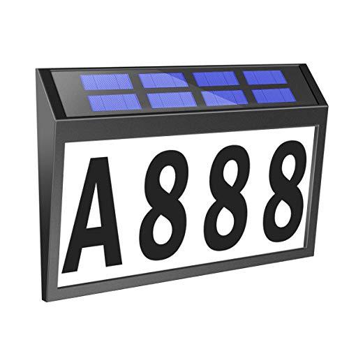 Solar House Numbers Light, T-SUNUS Lighted House Numbers Sign Plaque Address Numbers for Houses Waterproof LED Solar Powered Address Sign for Houses Mailbox Street Yard
