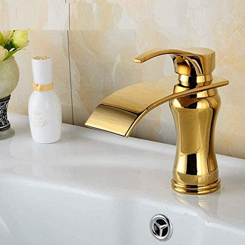 Grifo de cocina Grifo Vintage Cobre Baño Grifo de lavabo de jade Cascada Pean Grifo de lavabo retro Grifo mezclador Grifo de cocina chapado en oro vintage