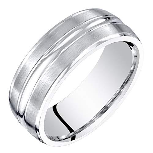 Mens 14K White Gold Wedding Ring Band 7mm Brushed Matte Comfort Fit Size 12