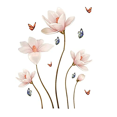 Brillante Pegatinas de Pared Flores Vinilos Decorativos,para Paredes,Diseño Floral para Muros y Paredes de Salas de Estar,Dormitorios,Armarios,Cocinas y Vestíbulos 112 * 70cm Natural