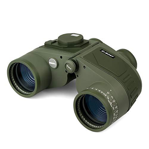 Svbony SV27 Prismaticos, 7x50 Brújula Telémetro Marino Prismatiocs Potentes, HD Prisma BAK4 Impermeable Correa para el cuello Binoculares para Navegación Observación de Aves y CazaPotentes