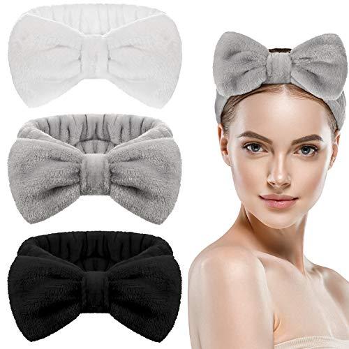 3 Stück Bowknot Haarbänder Makeup Stirnbänder Schleifen Haarwickel Handtuch Korallen Vlies Kosmetisches Haarband Sport Bad Dusche Haarbänder für Frauen Mädchen