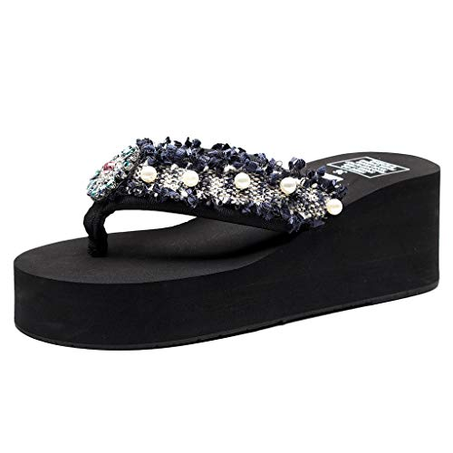 Deloito Damen Blumen Pantoletten Wedges Sandalen Bohemien Stil Flip Flops Mädchen Einfarbig Strasssteine Perle Hausschuhe Strandschuhe (Schwarz,40 EU)