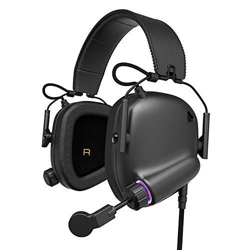LHYXRJ Casque d'écoute USB, Casque d'écoute de Bureau Esports, câble avec Microphone pour téléphone Portable Universel 7.1 canaux (Noir élégant)