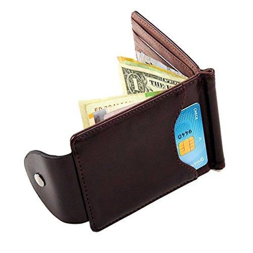 Uomo Sottile Fermasoldi in Pelle Portafogli Sottili Borsa Titolare Della Carta di Credito ID Portafoglio Uomo (Marrone)