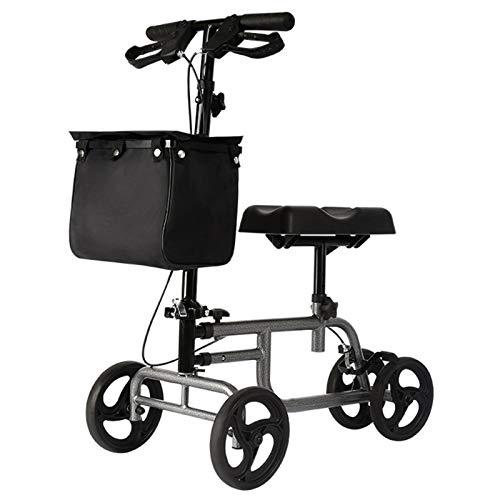 Andador con Ancianos de Rodilla Orientable, Patinete de Rodilla para Lesiones en Los Pies, Cirugía de Tobillos, Andador Asistido para Discapacitados, con Ruedas y Asientos