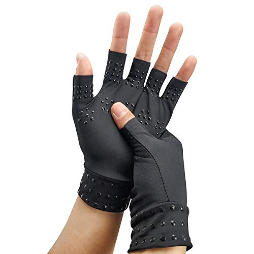 Kupfer-Kompressions-Arthritis-Handschuhe, Halbfinger-Handschuhe, Arthritis, Gelenkschmerzlinderung,Gold, Teint