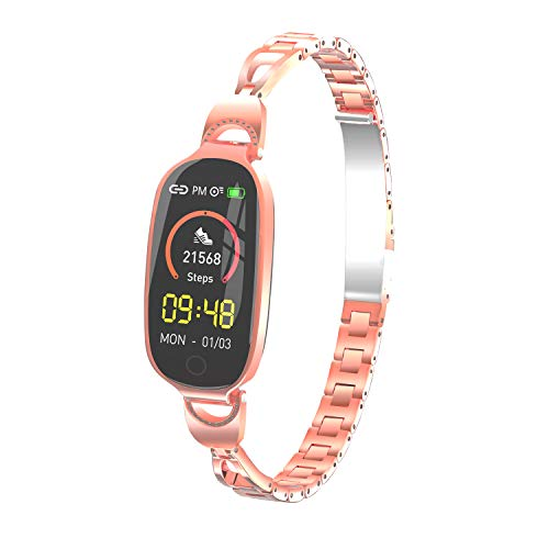 F18 Smart Watch Bracelet Fitness Tracker IP68 Waterproof Smart Bracelet Reminder Sleep Monitoring Exercise Step for Women (Rose Gold)