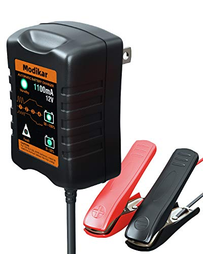 Car Battery Charger Automotive Modikar 12V Trickle Charger 1.1 Amp Fully-Automatic Smart Battery Charger & Maintainer Desulfator for Car Truck Motorcycle ATV SUV Marine Boat Lawnmowers